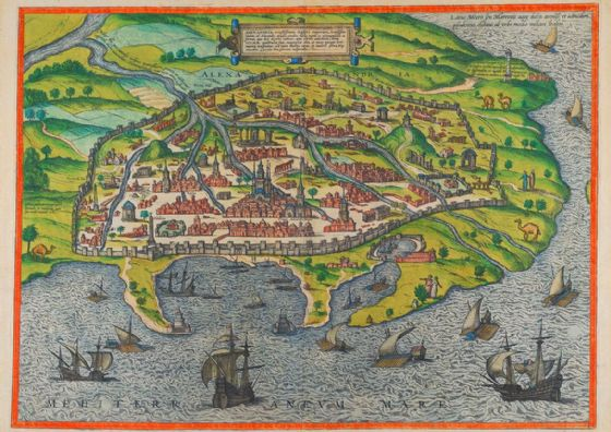 Alexandria Map 1588 as Depicted by Braun and Hogenberg. Print/Poster (5453)